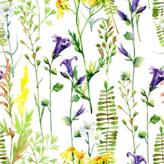 Panel Szklany Do kuchni Watercolor meadow flowers seamless pattern