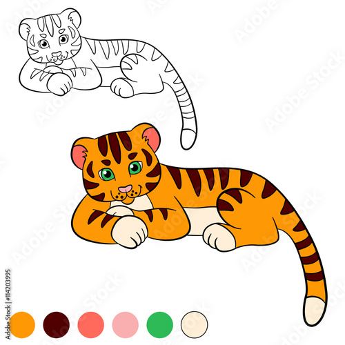 Coloring Page Color Me Tiger Little Cute Baby Smiles