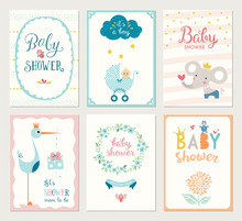 Set Of 6 Baby Shower Cards Wit...