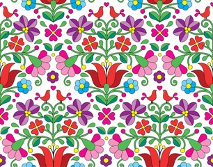 Fototapeta Kalocsai floral emrboidery seamless pattern - Hungarian folk art background
