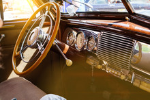 Interior Of A Classic Vintage Car With Sun Glare
