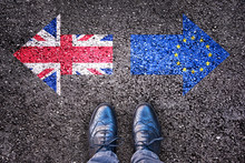 Brexit Concept, Deal Or No Deal, Flags Of The United Kingdom And  Europe On Asphalt Road With Legs