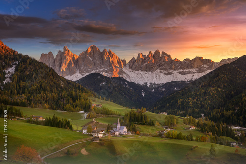 Fotografia, Obraz  Sunset over Santa Maddalena in Dolomites, South Tyrol, Italy