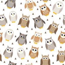 Cute Cartoon Owl Seamless Texture. Owl Pattern. Vector Illustration