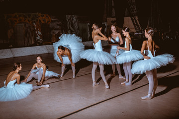 Fototapeta Taniec / Balet The seven ballerinas behind the scenes of theater