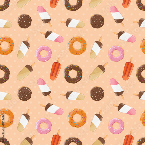 Cotton fabric Seamless pattern with ice cream and colorful tasty donuts