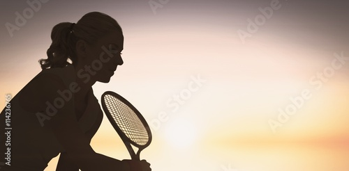 Composite image of athlete playing tennis with a racket Poster