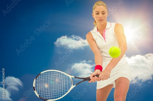 Composite image of athlete playing tennis with a racket Tableau sur Toile