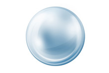 Empty Gray And Blue Glass Ball On White Background