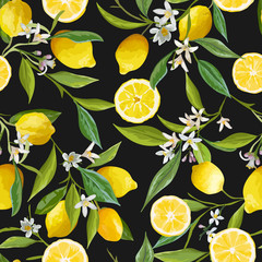 Seamless Pattern. Lemon Fruits Background. Floral Pattern.