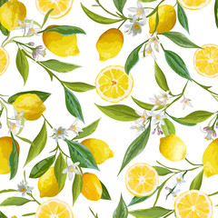 Panel Szklany Natura Seamless Pattern. Lemon Fruits Background. Floral Pattern.