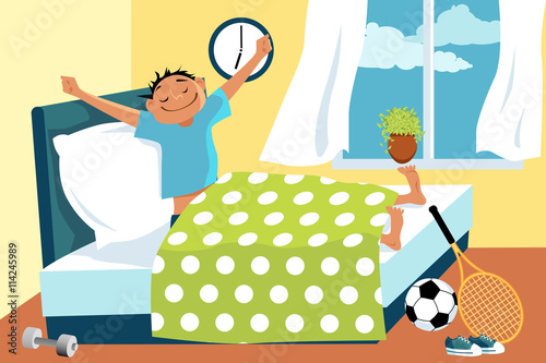 Plagát  Cartoon man waking up in his bed early in the morning, sport equipment lying aro