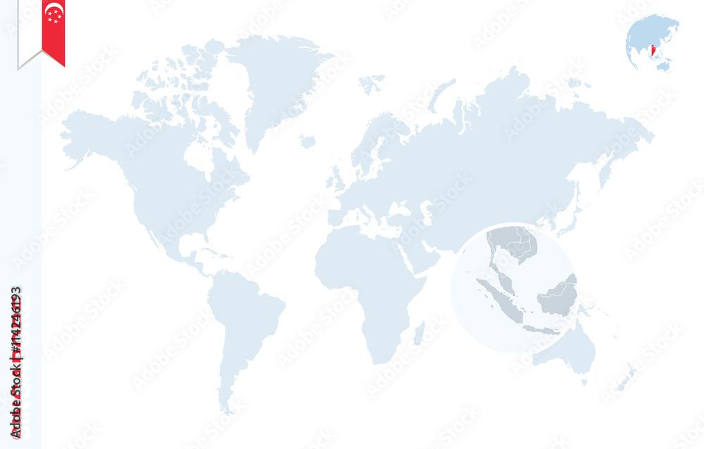 Blue world map with magnifying on Singapore Fotografia Obraz na