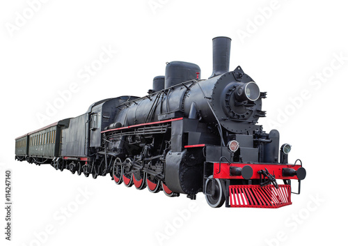Steam locomotive with wagons Canvas Print