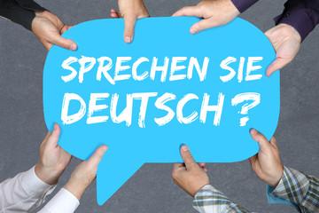 FototapetaGruppe Menschen halten Sprechen Sie Deutsch Sprache Sprachen ler