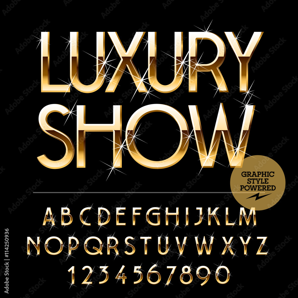 Fototapety, obrazy: Vector set of alphabet letters, numbers and punctuation symbols. Gold emblem with text Luxury show