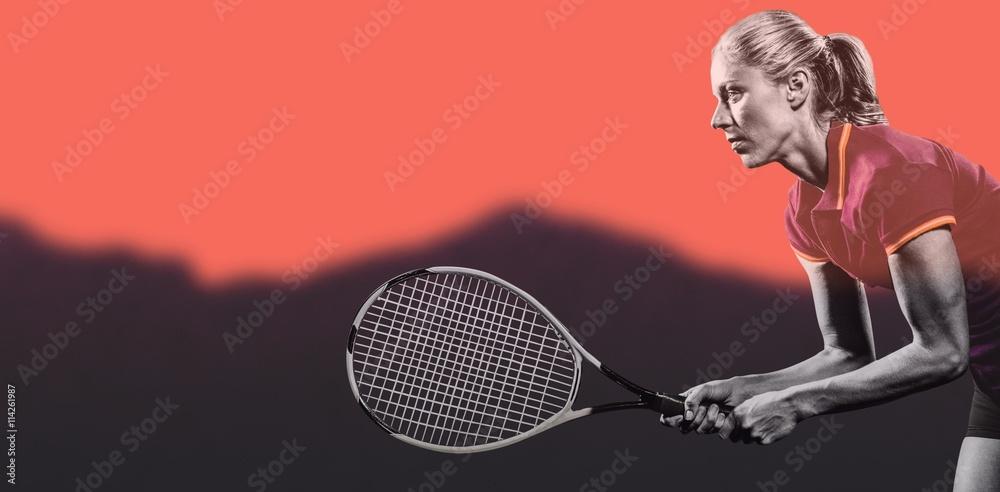 Image composite de joueur de tennis jouer au tennis avec une raquette Poster