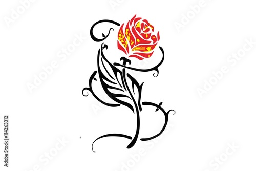 a6cd3f177 red rose / flower tribal tattoo - Buy this stock vector and explore ...