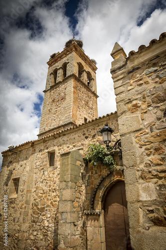 In de dag Cyprus Nuestra Sra Consolación church in Monterrubio De La Serena, Badajoz, Spain