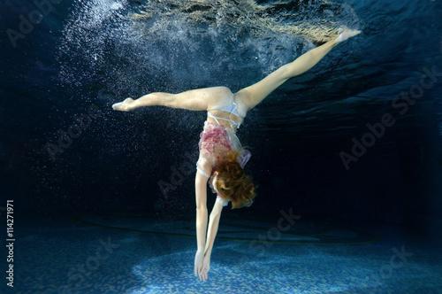Fotografie, Obraz  Woman presenting underwater fashion in pool