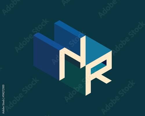 NR Isometric 3D Letter Logo Three Dimensional Stock Vector Alphabet Font Typography Design