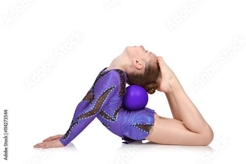 Poster Gymnastiek girl in blue clothes doing gymnastics
