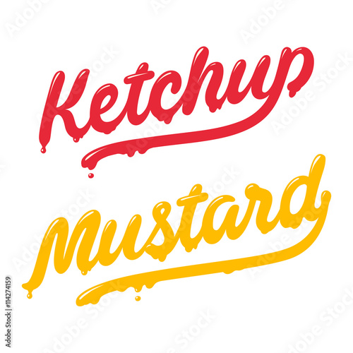 Fotografie, Tablou Ketchup and mustard lettering
