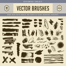 Large Collection Of Hand-made Grungy Vector Brushes, Scribbles And Similar Design Elements