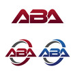 Modern 3 Letters Initial logo Vector Swoosh Red Blue aba