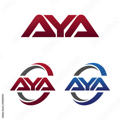 Modern 3 Letters Initial logo Vector Swoosh Red Blue aya Canvas Print