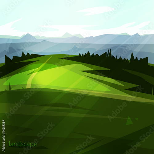 Fototapeta Beautiful natural scenery. landscape with trees, beautiful meadow and mountains A great background for your design. obraz na płótnie