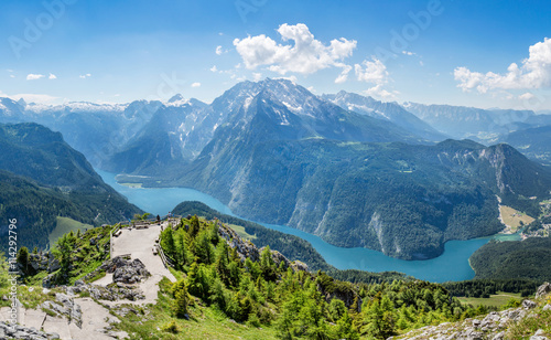 Tuinposter Alpen Panoramic view from Jenner over the Koenigssee near Berchtesgade