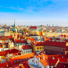 Red Prague Roofs - View From The City Hall, Travel European Background