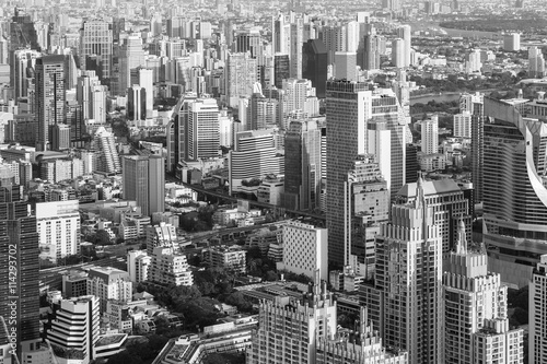 Black and white city downtown office building, cityscape background Poster