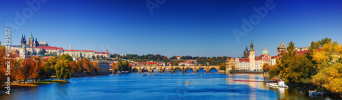 Foto op Plexiglas Praag Prague Castle and Old City day panorama view with blue sky, travel vivid autumn european background