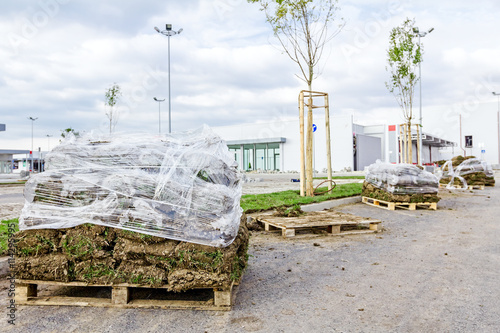 Pallet of sod rolls are wrapped in foil, unrolling grass - Buy this