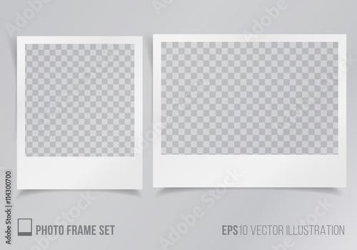 Fotomural Set of polaroid frames with transparent background vector illustration, frames w