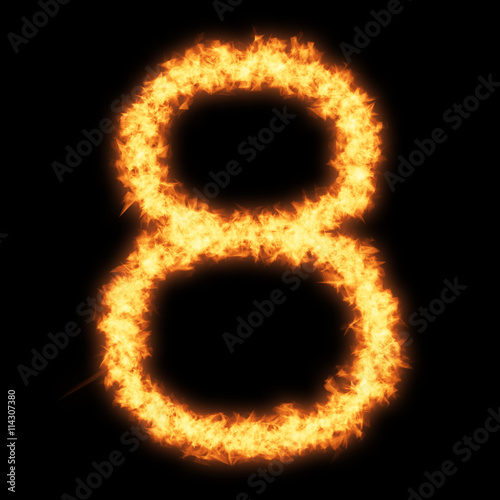 Digit number 8 with fire on black background- Helvetica font