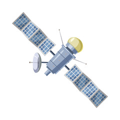 Earth satellite sputnik icon, cartoon style