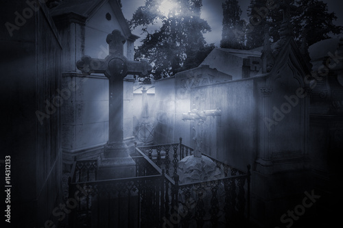 Canvas Prints Cemetery Full moon cemetery
