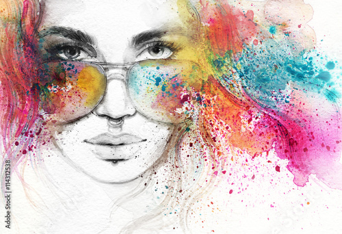 Obraz abstract woman portrait. watercolor illustration  - fototapety do salonu