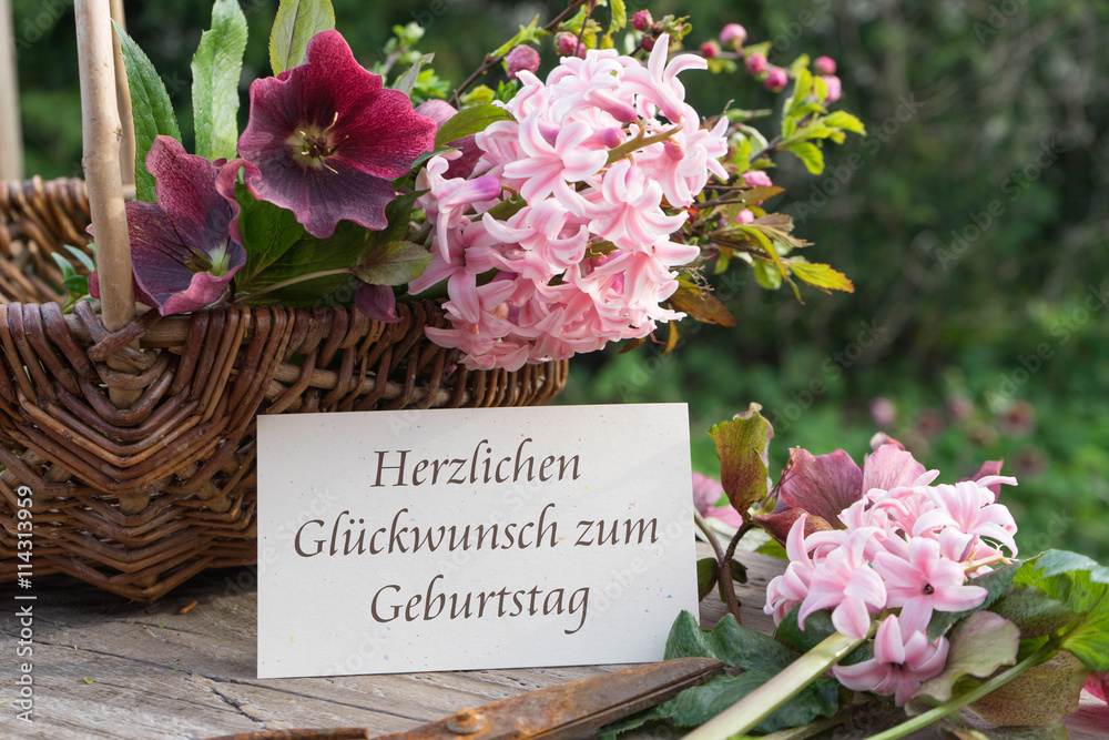 Photo Art Print Happy Birthday German Language Card With Hyacinths And Hellebores