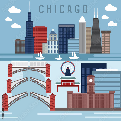 Flat design vector horizontal banners with landmarks of Chicago,