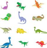 Fototapeta Dinusie - cute dinosaurs cartoon collection set