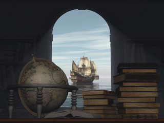 Fototapeta Marynistyczny The old window old globe, old books