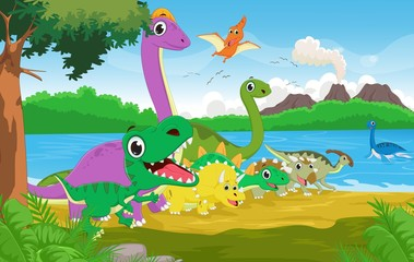 Cartoon group of dinosaur with the prehistoric background