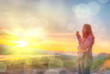 Abstract Blurred and soft photo of Women on hilltop
