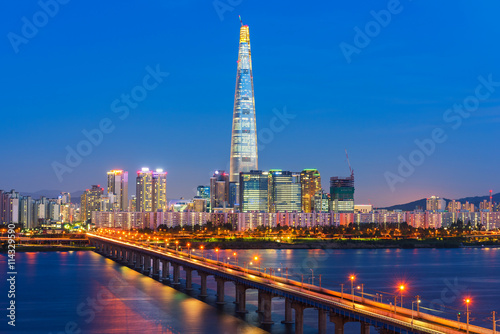 Seoul City Skyline at Han river Seoul, South korea Poster
