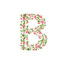Floral font with with spring pink flowers. Romantic alphabet let
