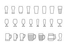 Beer Glasses And Mugs Minimal Line Icon